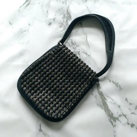 Francesco Biasia leather chainmail shoulder bag